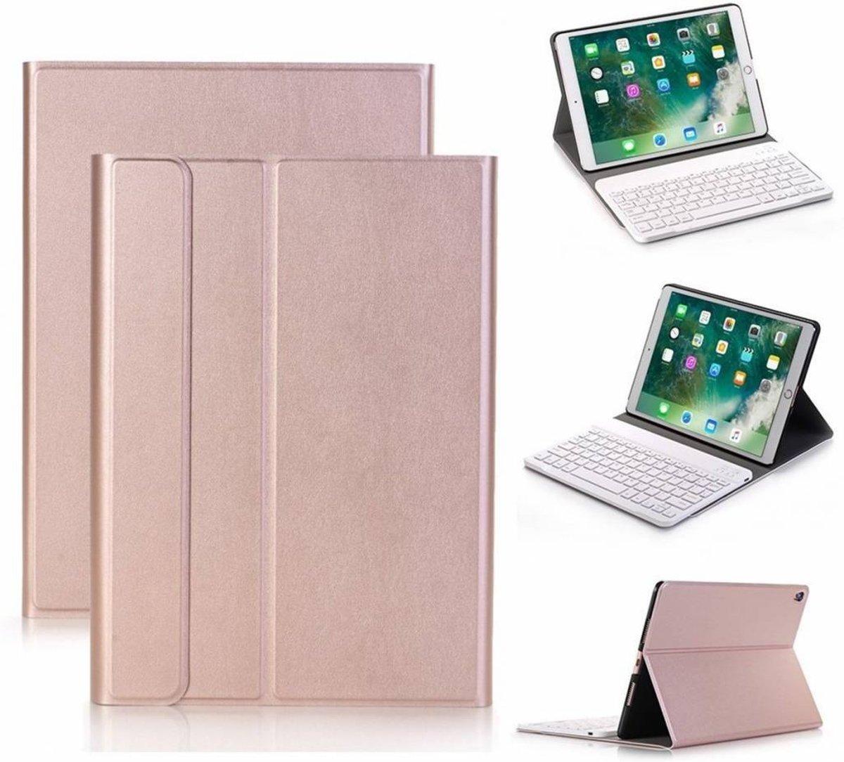 Rose Goud Magnetically Detachable / Wireless Bluetooth Keyboard hoes met toetsenbord voor Apple iPad (2018) / Air 1 / 2 / iPad Pro 9.7 inch / iPad 2017