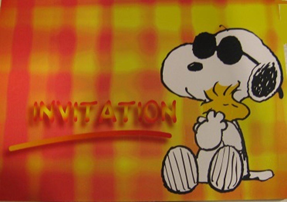 12 x uitnodiging Snoopy