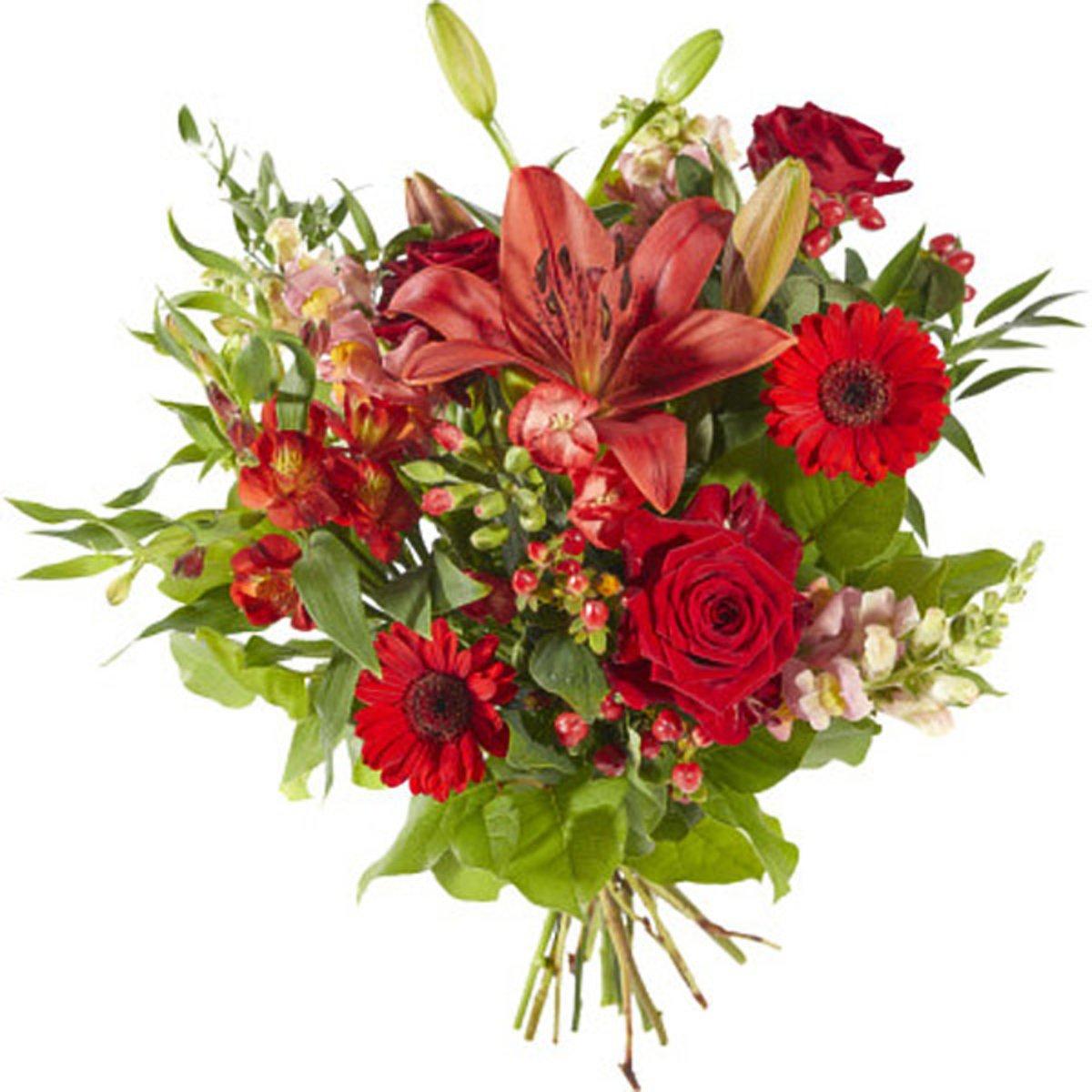 Boeket Gemengde rode bloemen kopen