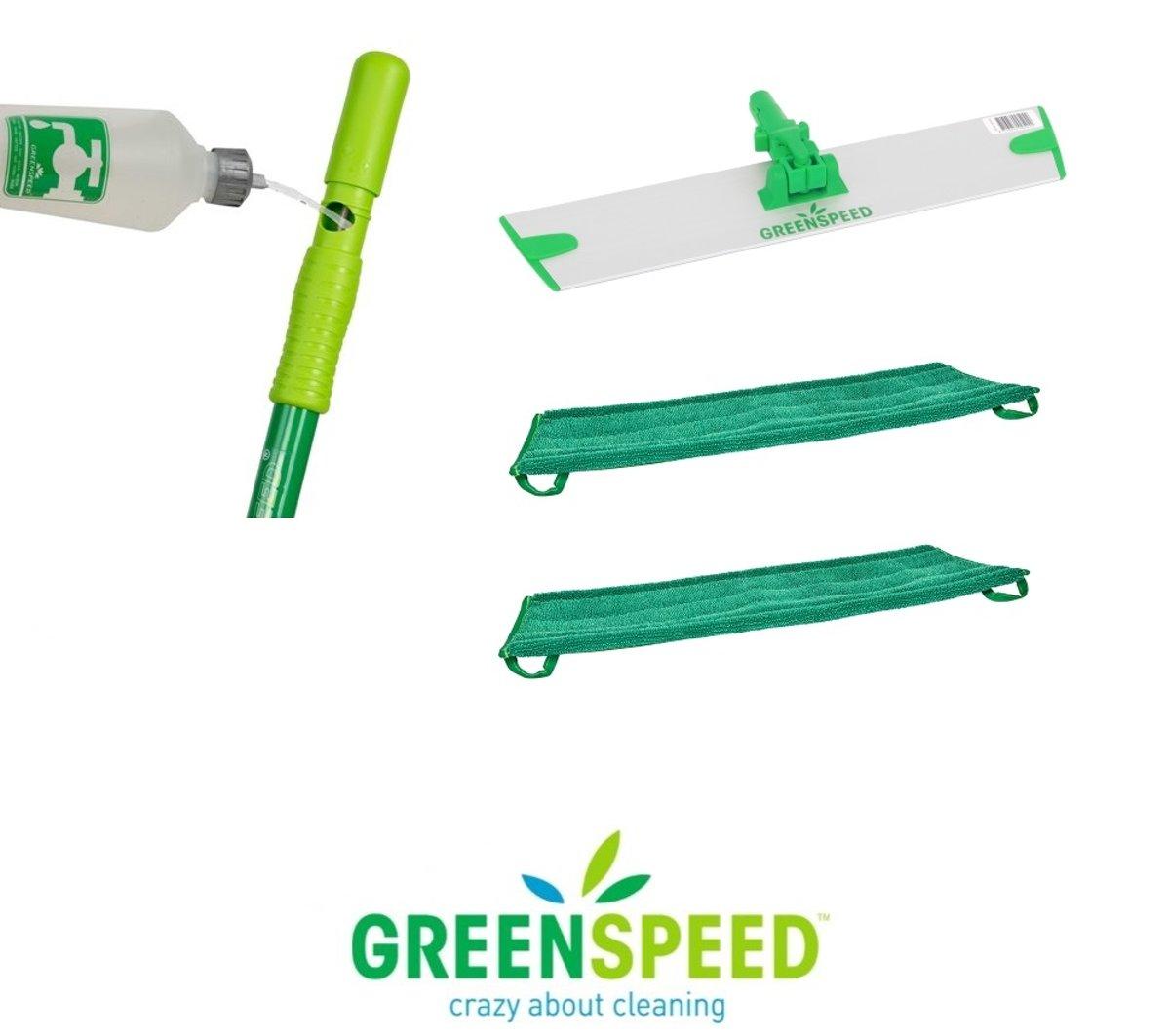 Greenspeed Sprenkler dweilset met 2 microvezel vlakmoppen kopen