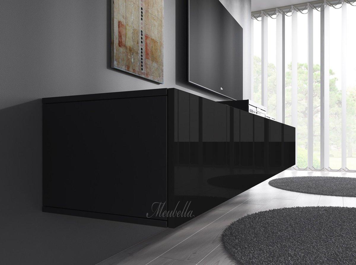 Hoogglans Meubels Beschadigd : Bol.com meubella tv meubel flame zwart 160 cm