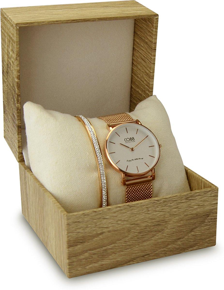 CO88 Collection Gift Set 8CO SET042 Horloge Geschenkset - Horloge met Armband - Ø 32 mm - Rosékleurig / Wit kopen