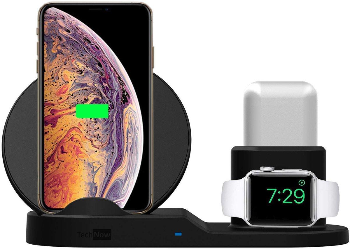 3 in 1 Docking Station Oplaadstation Draadloos Qi voor Apple iPhone, Apple Watch en Apple Airpods - Met Ingebouwde Opladers van TechNow kopen