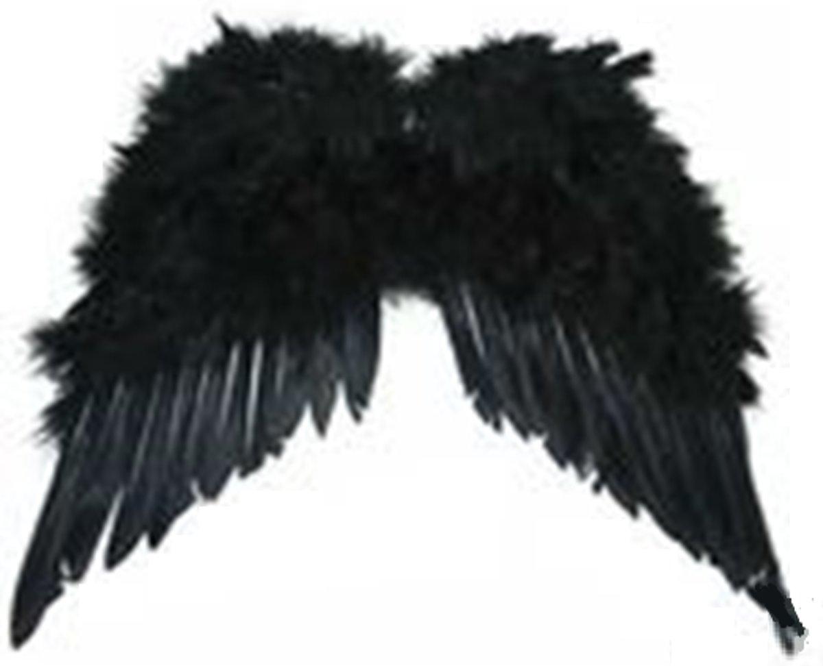 Afbeelding van product Zwarte Engel vleugels - Verkleed Kleding - Carnaval - Leuk en Schattig  - maat One size