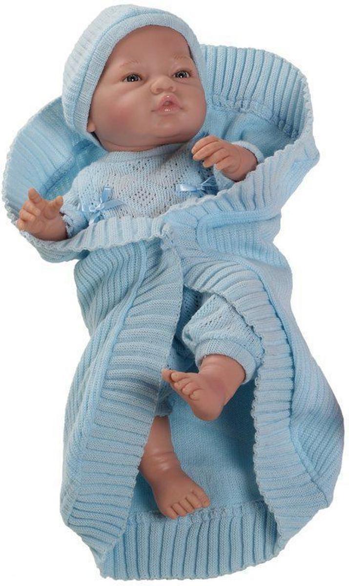 Paola Reina Bebito babypop blank gekleed (blauw), omslagdoek 43cm