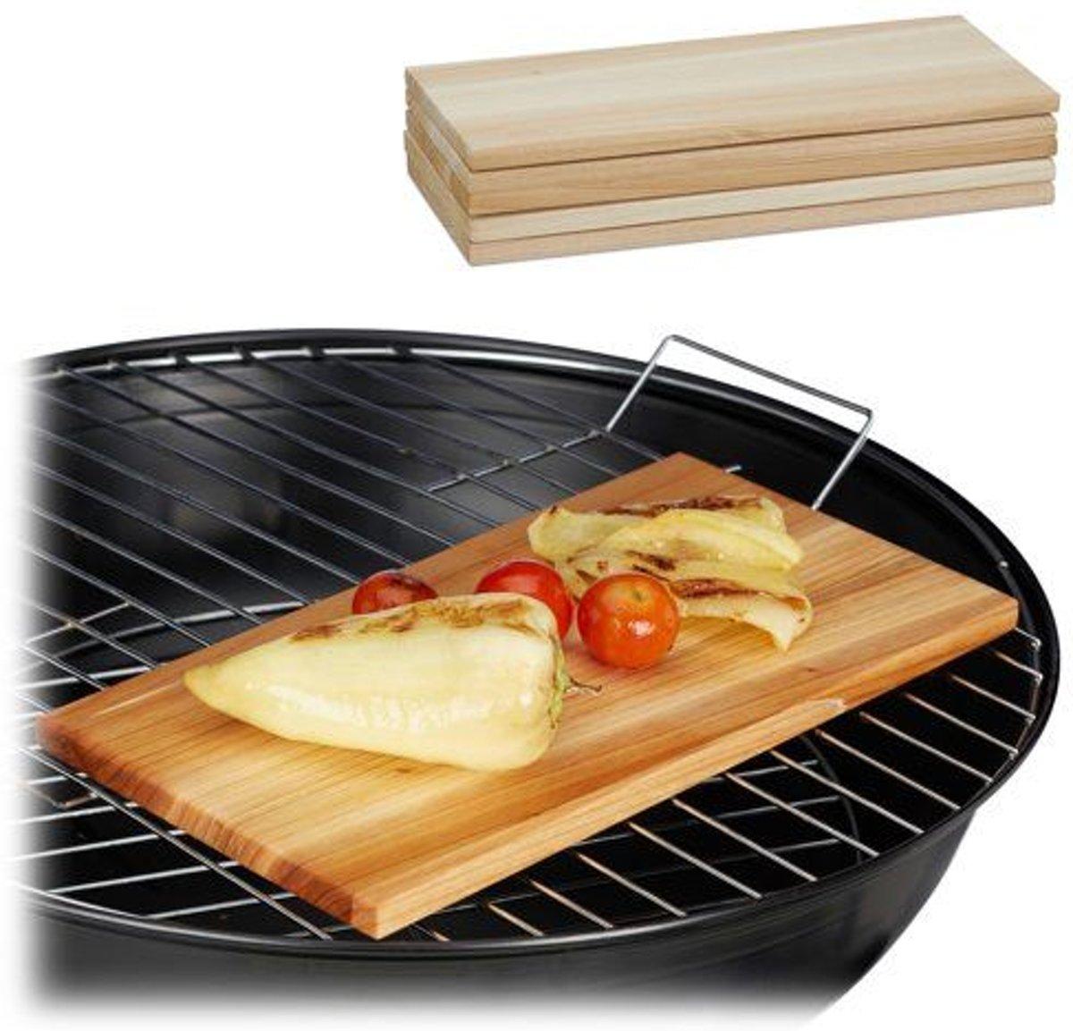 relaxdays rookplank cederhout - set van 6 stuks - zalmplank - barbecueplank - houtplank kopen