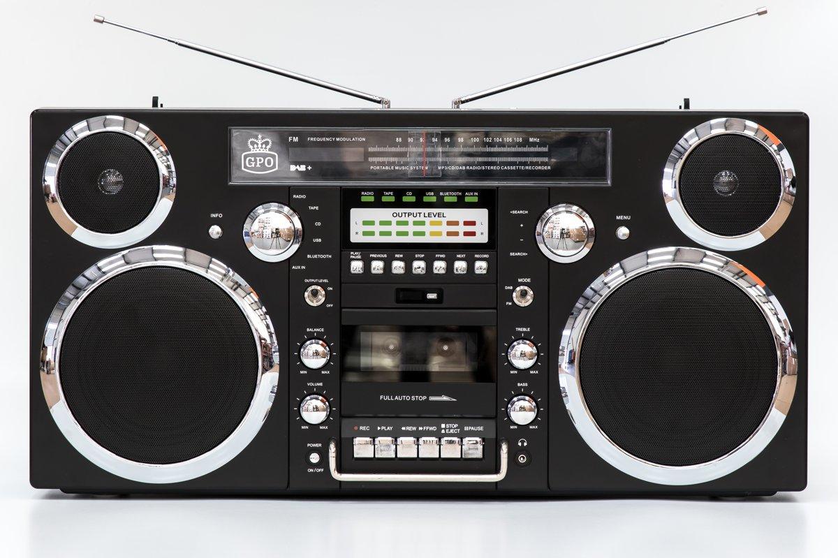 GPO BROOKLYN - Ghettoblaster bluetooth, CD, cassette, USB en DAB+ radio - Zwart kopen