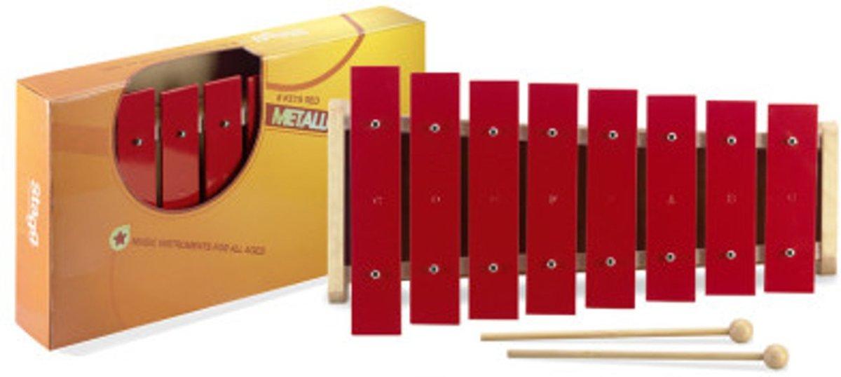 Stagg META-J8B RD metallofoon (klokkenspel) met 8 grote, rode klankplaten c-c