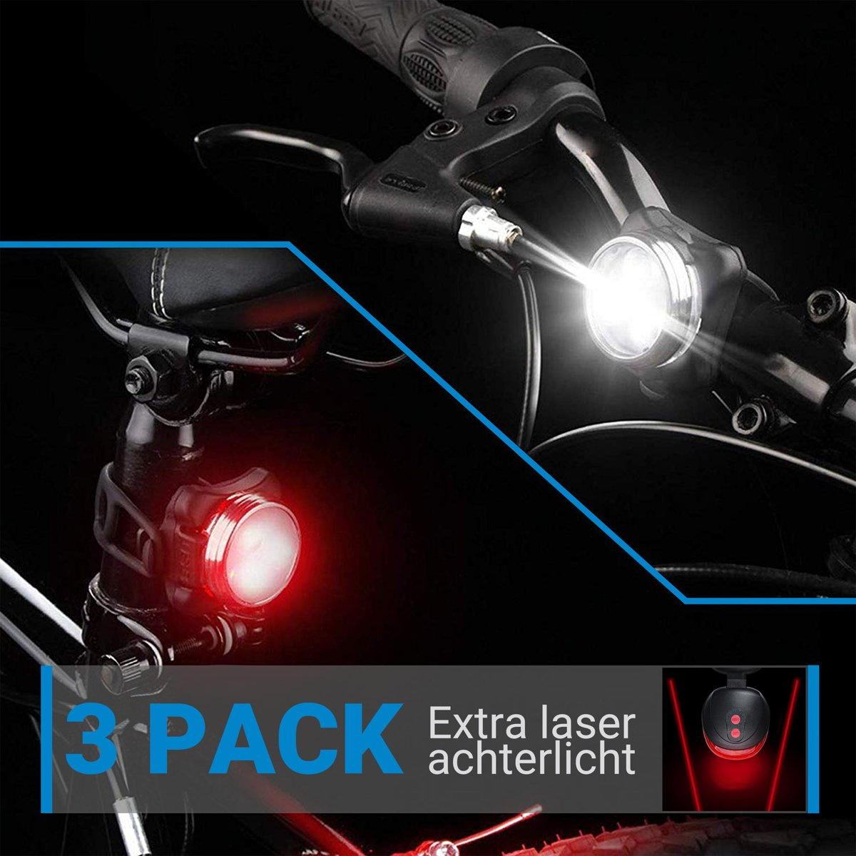 Fietslampjes - Fietsverlichting LED Oplaadbaar + Set voorlicht en achterlicht + Gratis Laserlamp