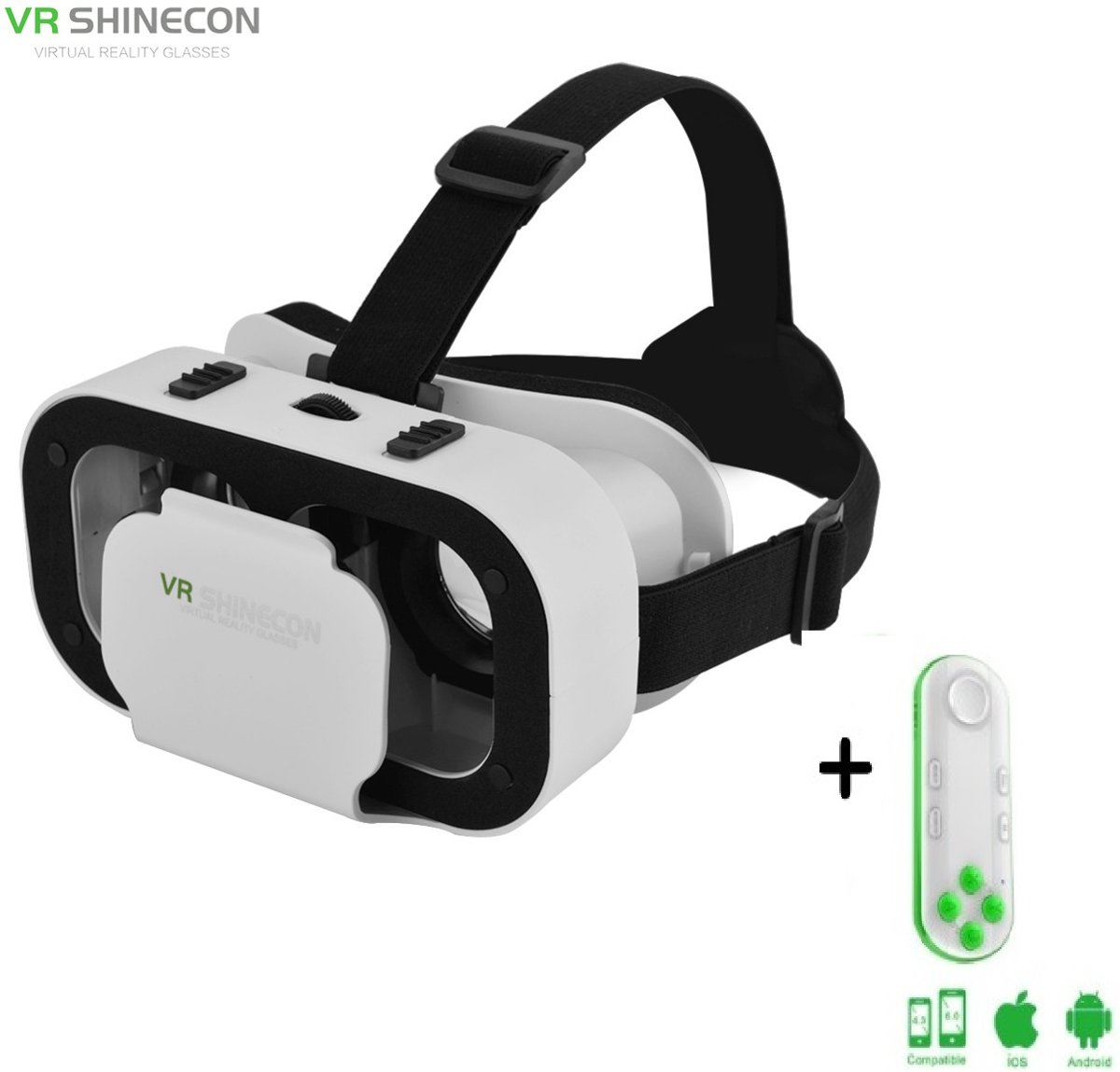 1188b2b4385b18 Shinecon® 5.0 Pro For Kids - 3D Virtual Reality Bril IMAX 3D - IOS Android  + Premium VR Controller Neon (Voor Kinderen)