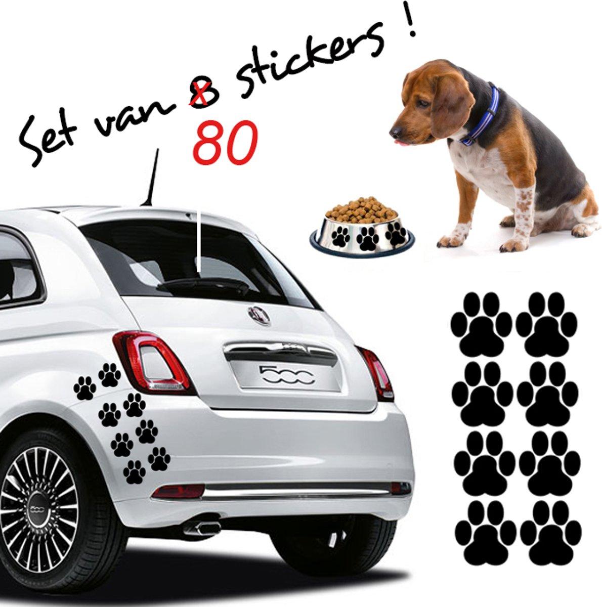 Stickythings Hondenpootjes V2 8 stickers Zwart 6cm kopen