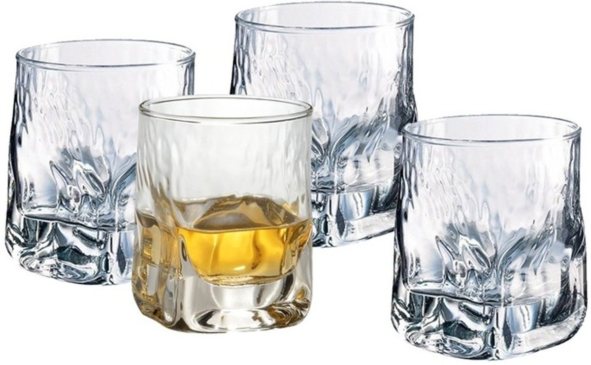 4x bijzondere whiskey glazen - 330 ml - whiskeyglazen kopen