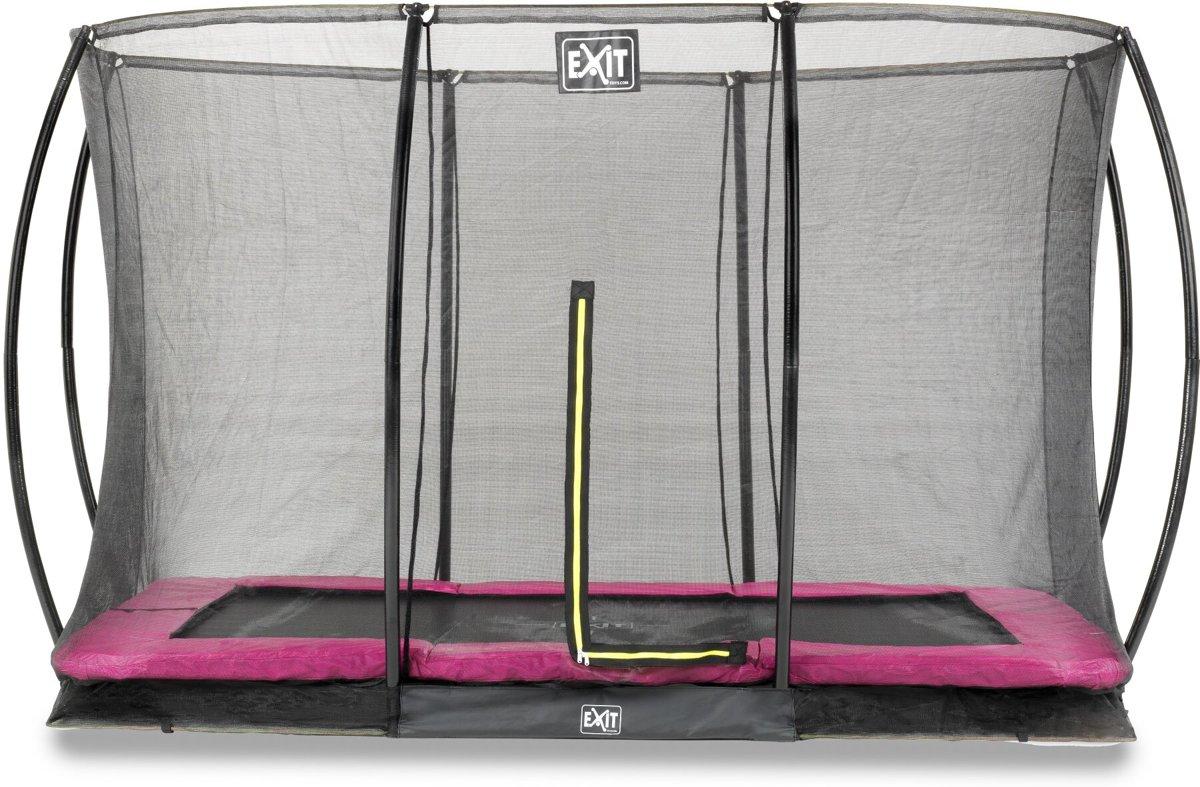 EXIT Silhouette inground trampoline 244x366cm met veiligheidsnet - roze