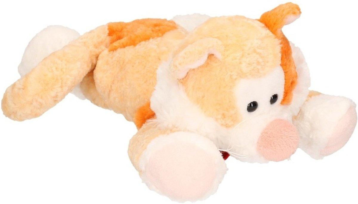 Afbeelding van product Pluche oranje kat/poes knuffel 30 cm - Katten/poezen huisdieren knuffels - Speelgoed voor kinderen