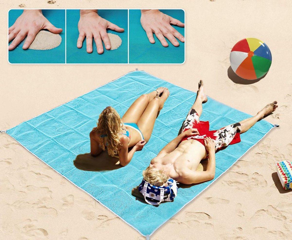Zandvrij Strandlaken XXL Formaat - 2x2 meter -  Beachmat - Blauw - Geen last van zand - Strandkleed - Stranddoek