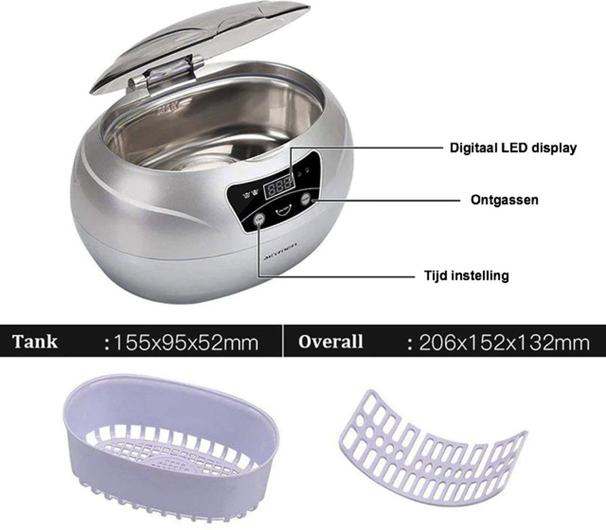 Ultrasoon reiniger - Sieraden reiniger - Bril reiniger - Krachtig - 600ml - Zilver kopen