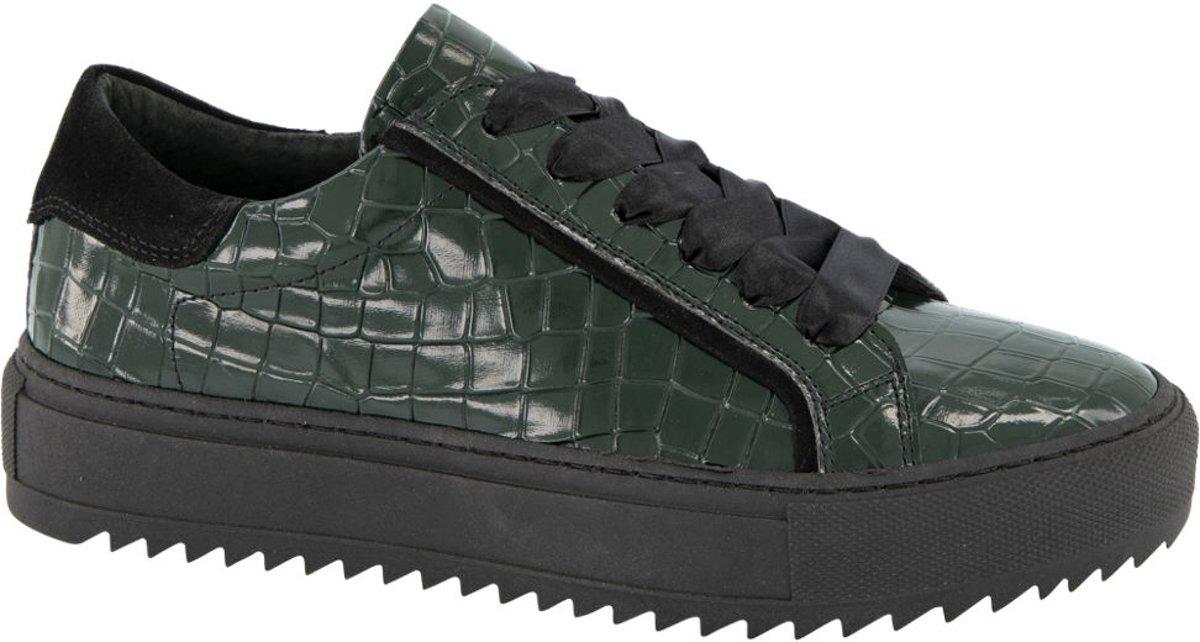 5th Avenue Dames Donkergroene leren lak sneaker crocoprint Maat 39