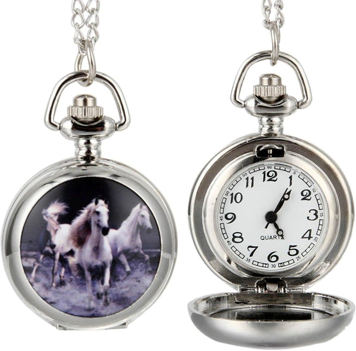 Fako Bijoux® - Kettinghorloge - Paarden Wit - Zilverkleurig kopen