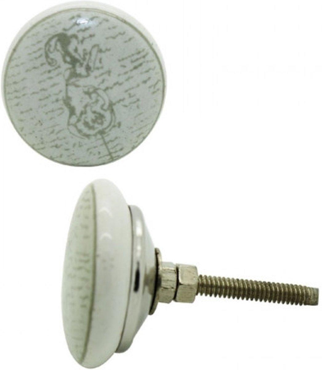 Afbeelding van product Deurknop keramiek tekst met print