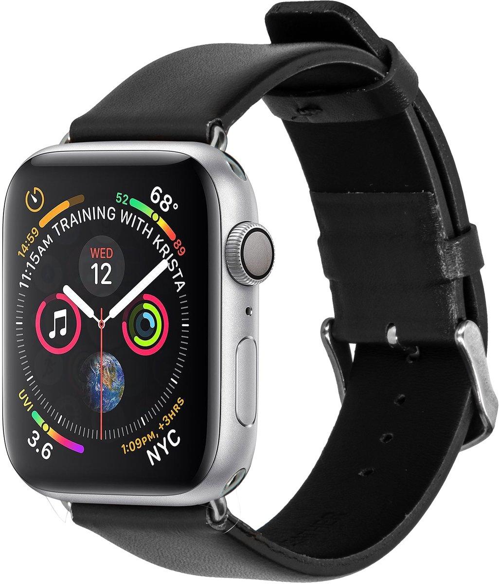 Zwart effen lederen bandje voor de Apple Watch 44 mm / 42 mm kopen