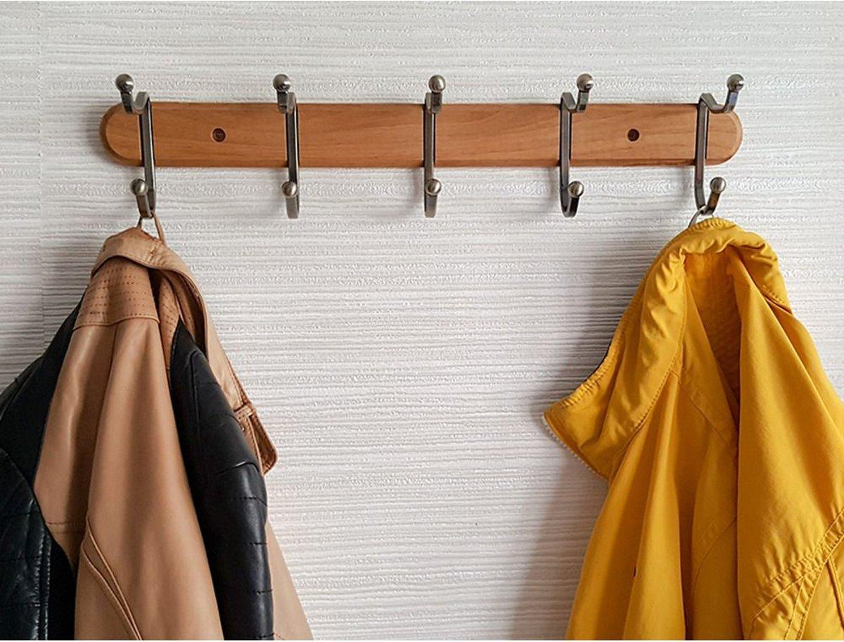 Wandkapstok Met 5 Dubbele  Ophang Haken - Hangende Design Muurkapstok - Muur/Wand Kledinghaak Wardrobe - Hout /Metaal