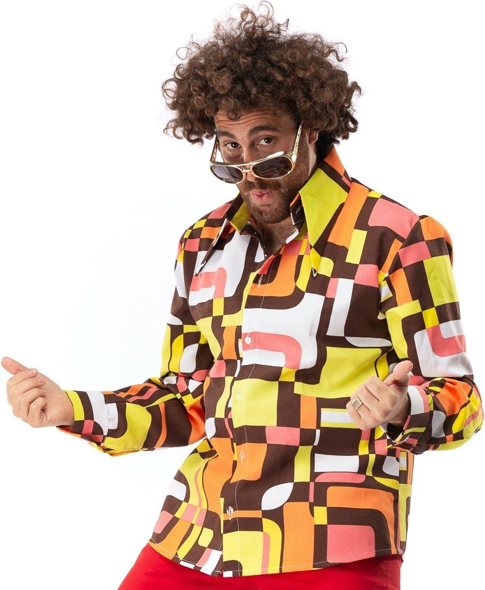 Afbeelding van product Original Replicas  Hippie Kostuum | Jaren 70 Hippie Soul Disco 60s Dolle Lijnen Shirt Man | 3XL | Carnaval kostuum | Verkleedkleding  - maat 3XL