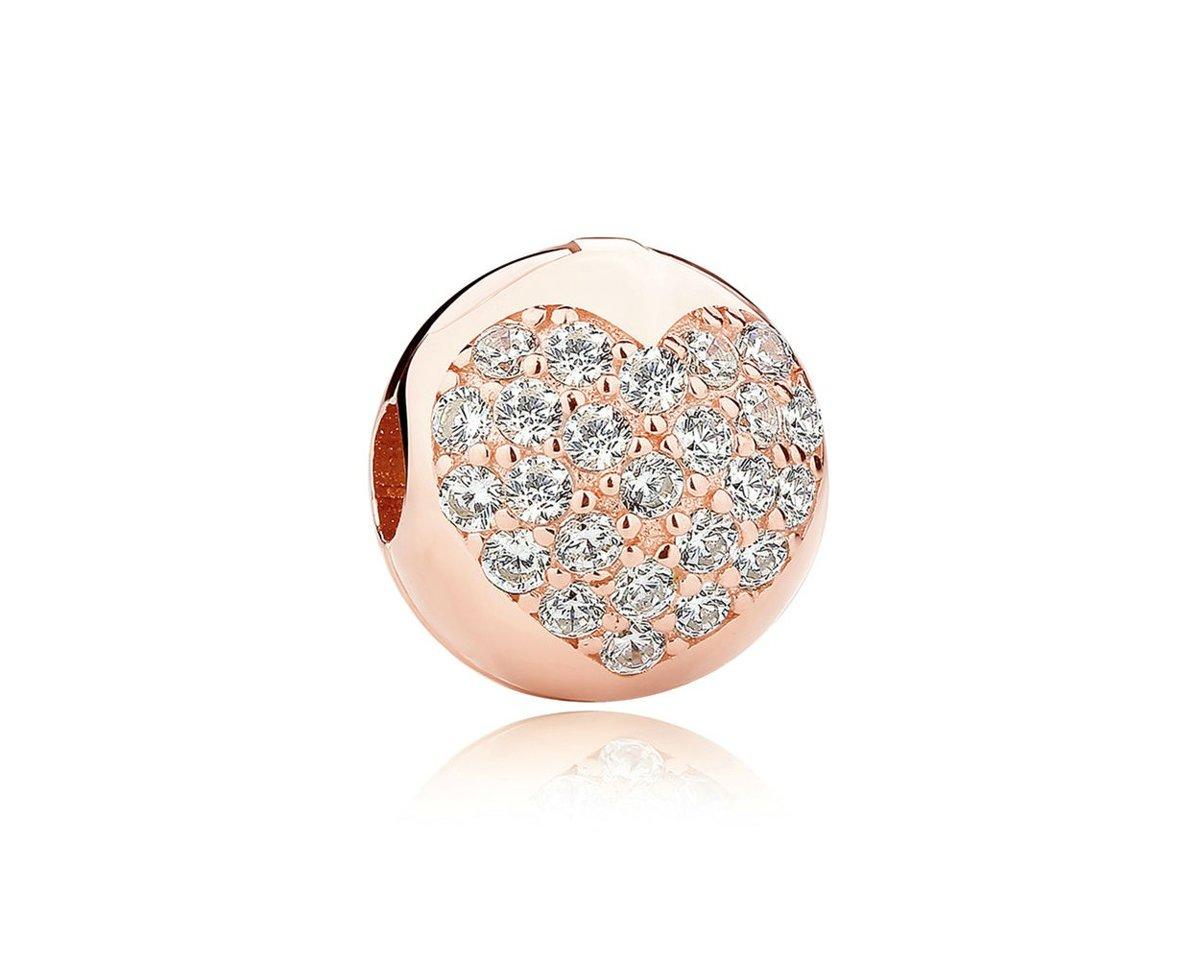 Zilveren clip Rosé gekleurd Hart kopen