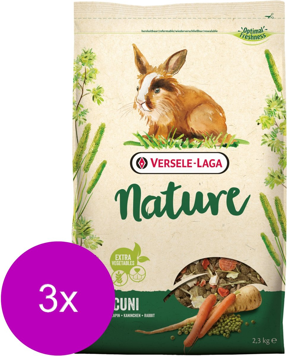 Versele-Laga Nature Cuni - Konijnenvoer - 3 x 2.3 kg