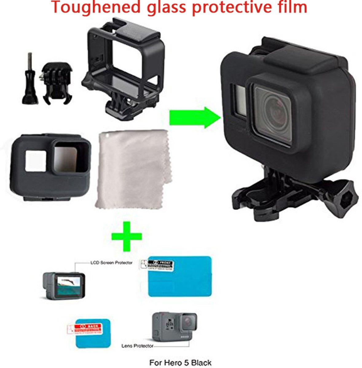 Gopro 5 Accessories Kit - Protective Frame + Siliconen Bescherming met Displaybeschermer en Lens (H9 Tempered Glass) en Vezeldoekje / Extreem Actie Videocamera kopen