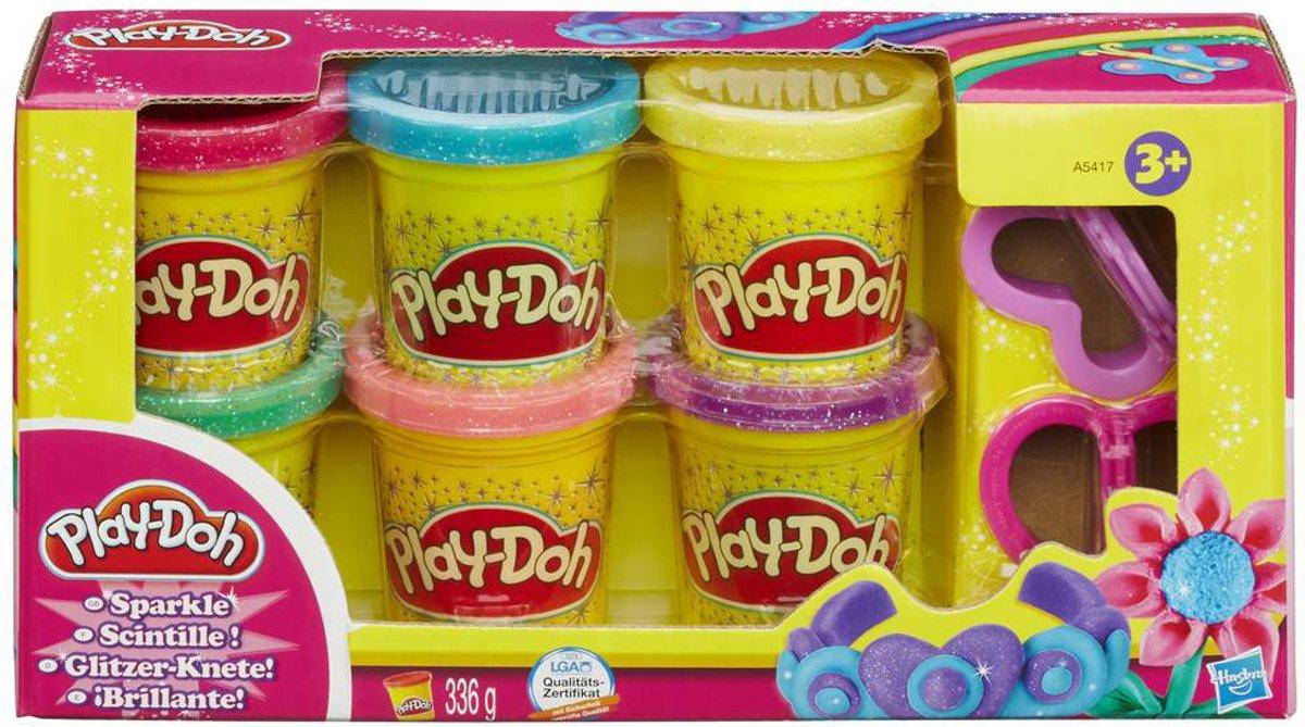 Play-Doh 6 kleuren met glitters - 336 gram - Klei