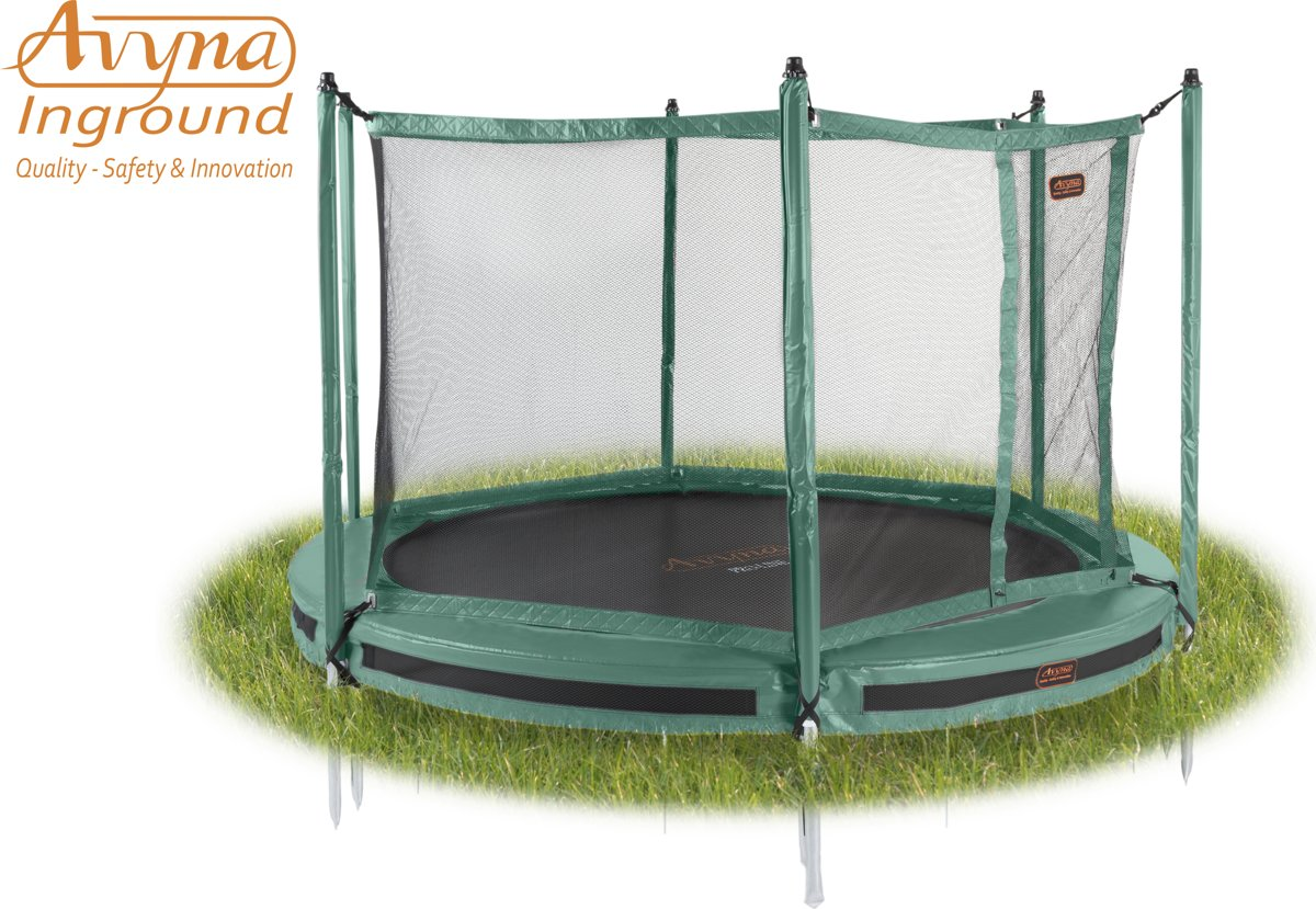 Avyna InGround trampoline PRO-LINE 3,65 (12 ft) Groen + net + InGround Tool Set (combi)