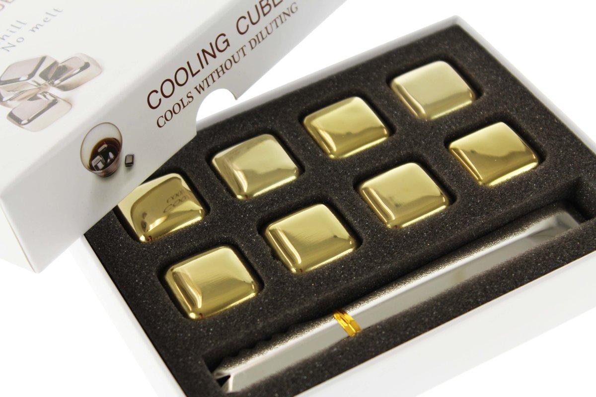 Ijsblok vervanger - Whisky Stones RVS Goudkleur - Set van 8 kopen