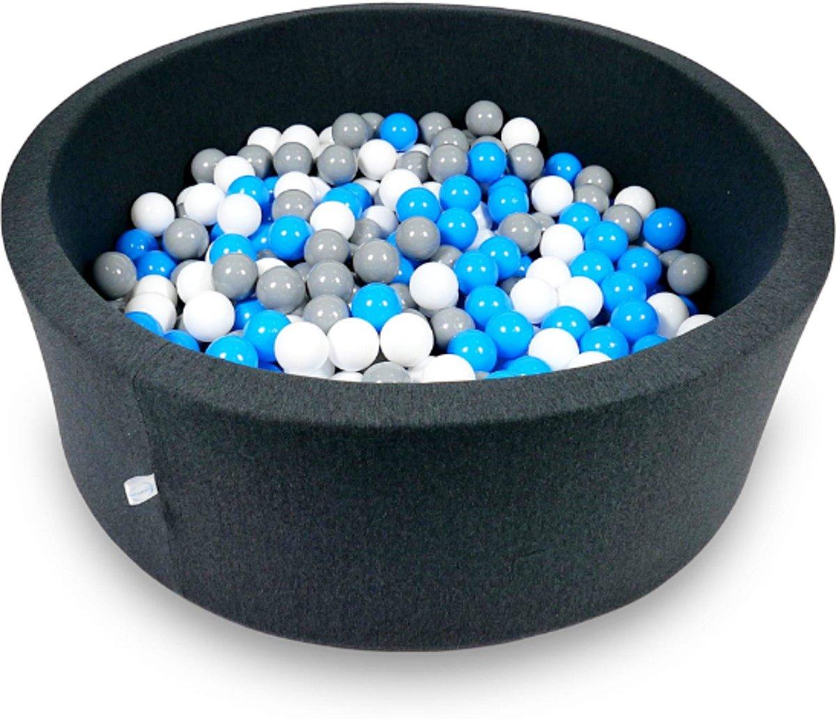 Ballenbak - 500 ballen - 115 x 40 cm - ballenbad - rond donker grijs