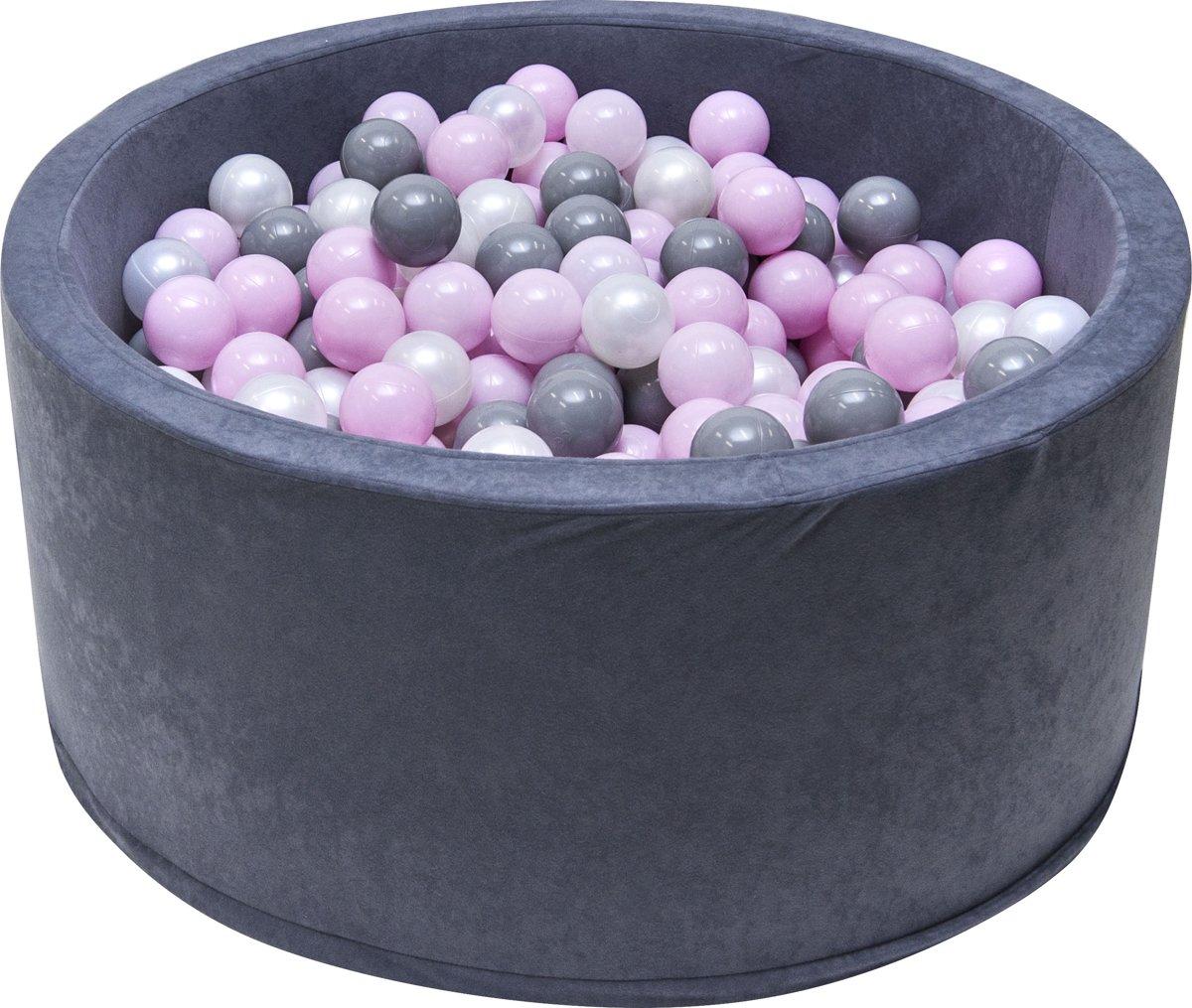 Ballenbak | Zwart incl.  200 witte, grijze en roze ballen