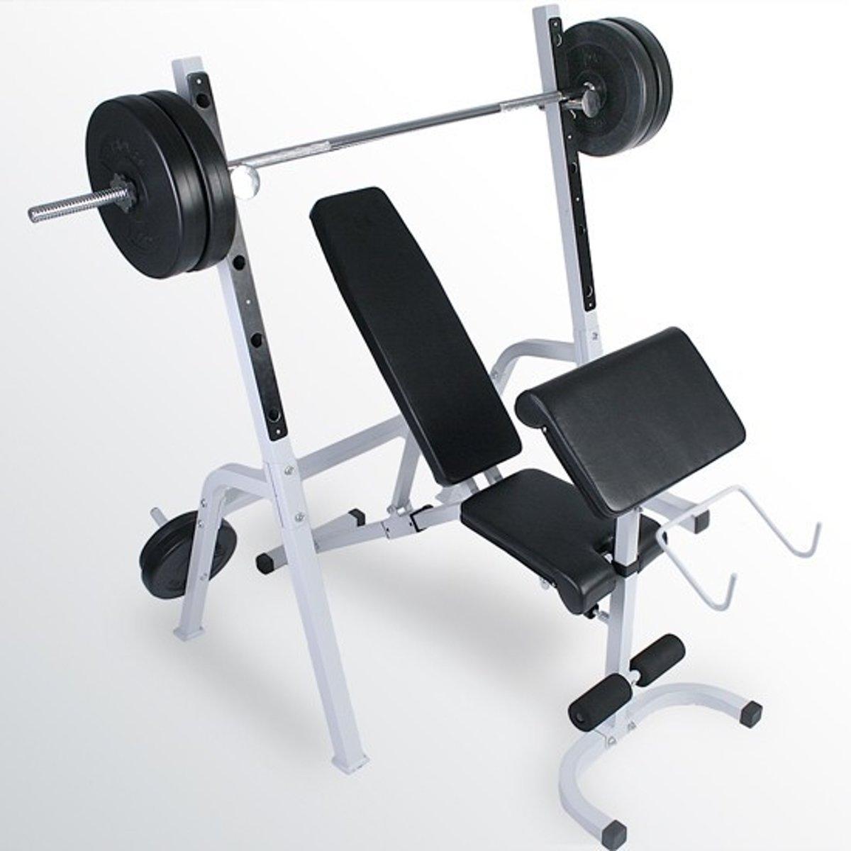 Fitnessbank Biceps Triceps - Halterstandaard - Lange halterstang - Gewichten - 53.5 kg kopen