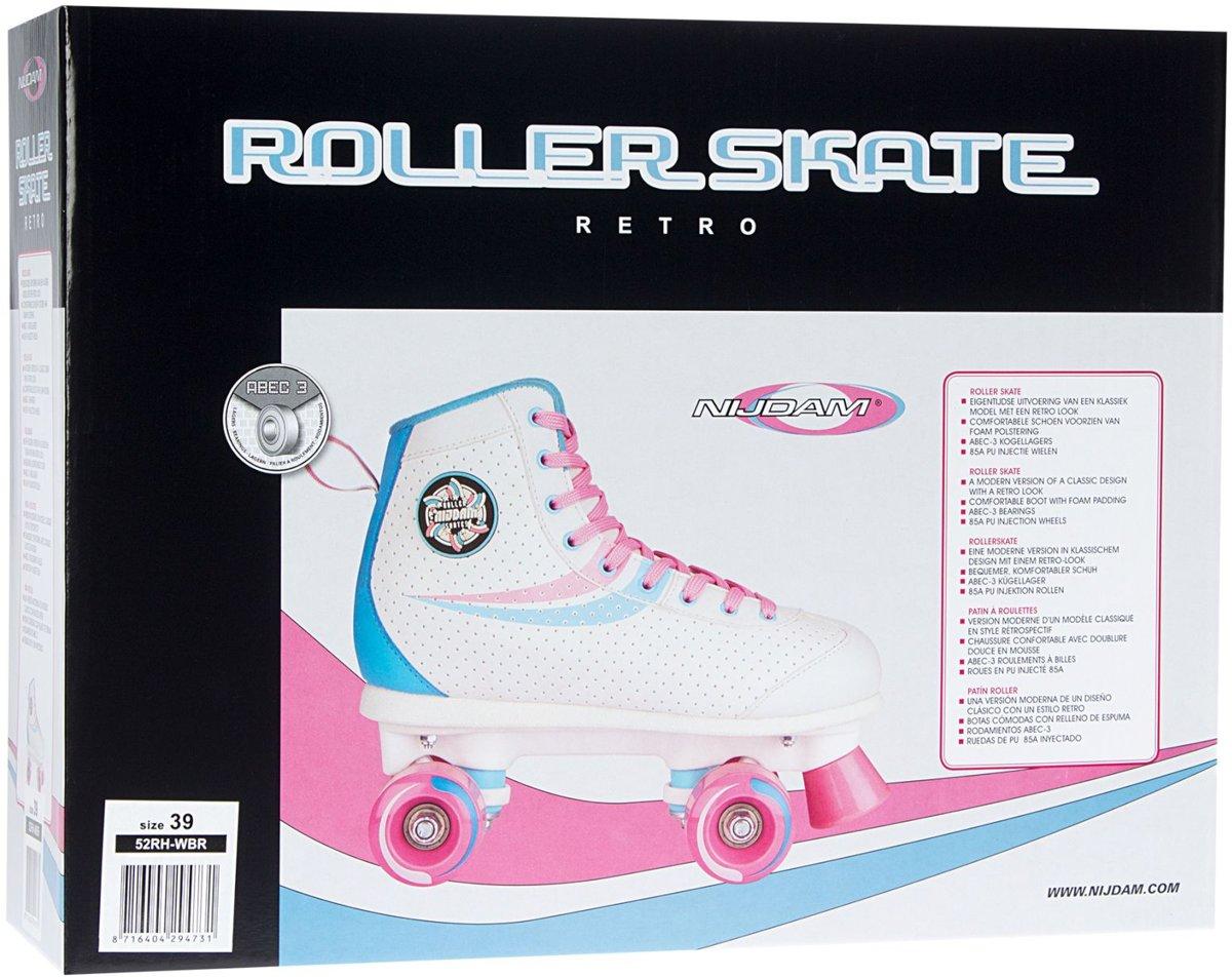 f2c5623f158 bol.com | Nijdam Rolschaatsen - Retro Swirl - Wit/Lichtblauw/Licht roze - 40,  Nijdam | Speelgoed