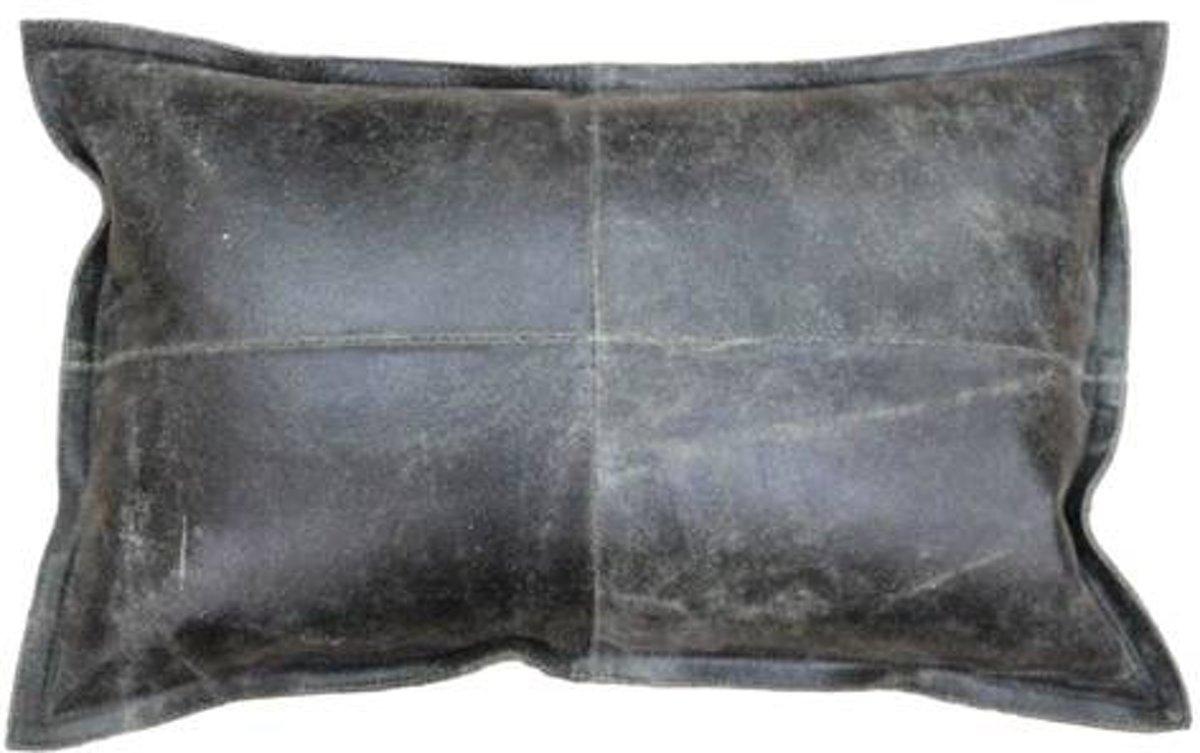 Bol.com kussen rustiek leer zwart 50x35cm