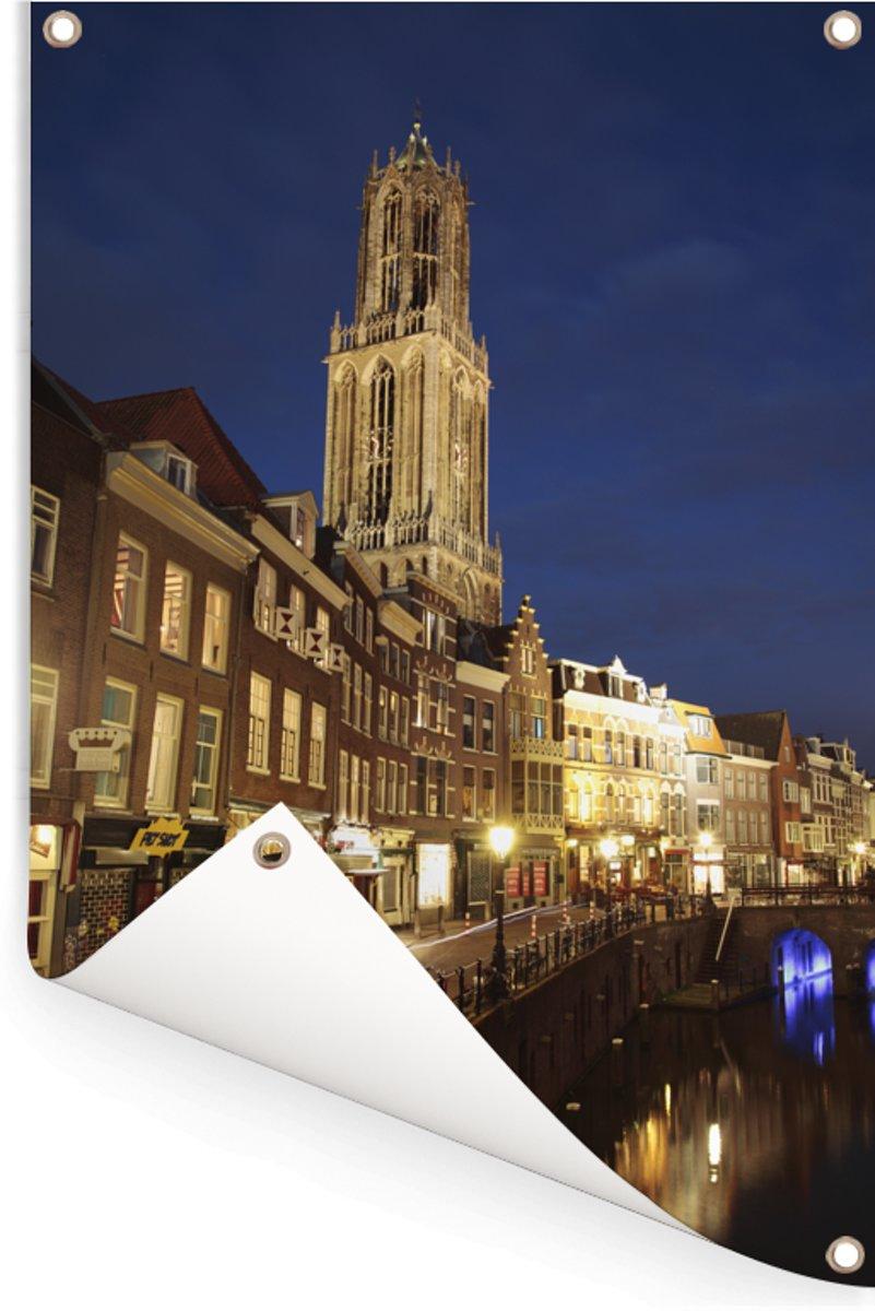 De Domtoren en de oude gracht van Utrecht in Nederland Tuinposter 120x180 cm Buitencanvas / Schilderijen voor buiten (tuin decoratie) XXL / Groot formaat! kopen