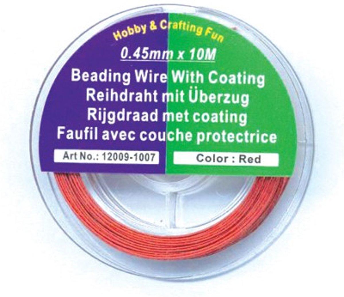 Rijgdraad met Coating - rood - 0,45mm x 10meter kopen