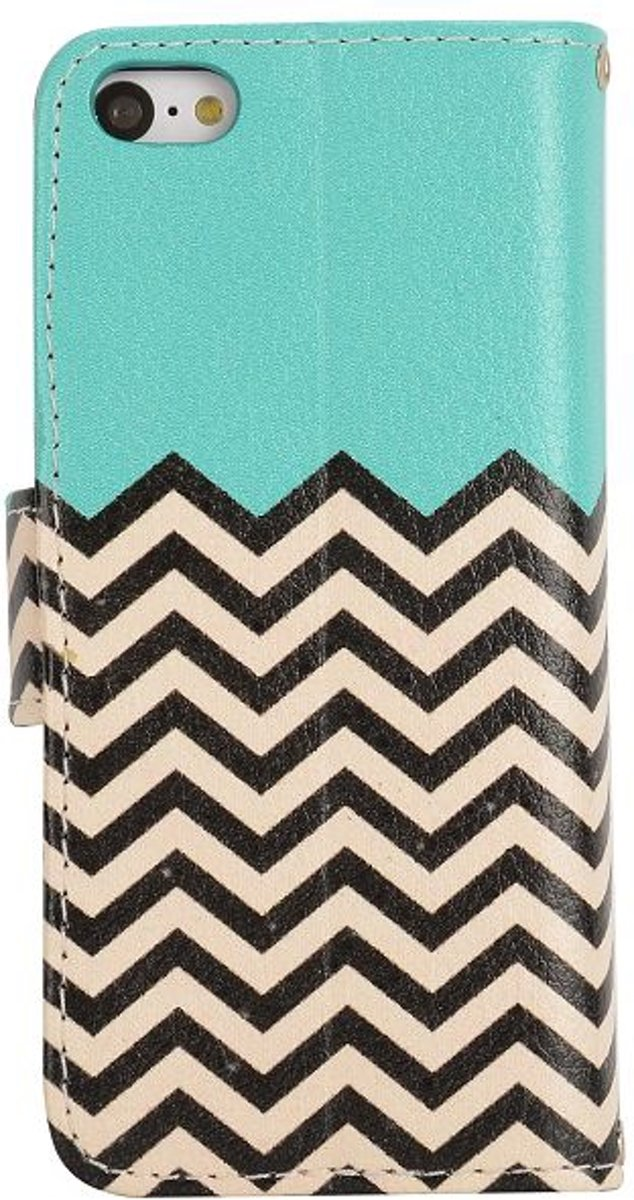 Bol | Zig Zag Patroon Blauw Bookcase Cover IPhone 5 / 5S