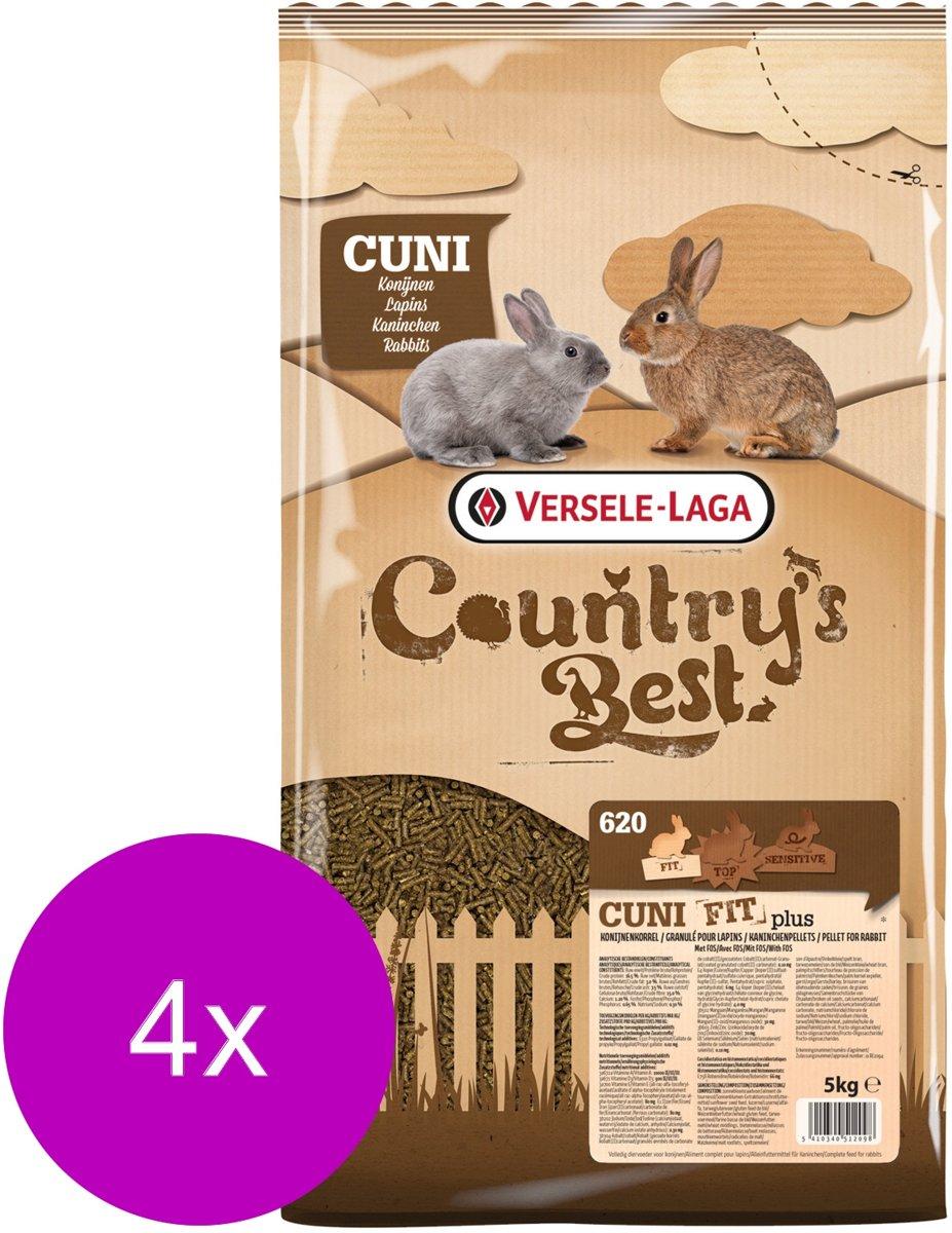 Versele-Laga Country`s Best Cuni Fit Plus - Konijnenkorrel - Konijnenvoer - 4 x 5 kg