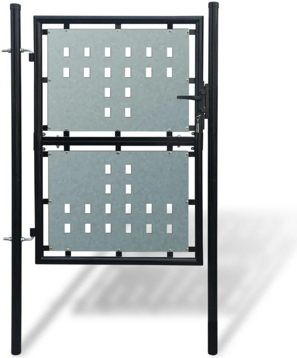 vidaXL Tuinpoort enkele deur zwart 100 x 225 cm kopen