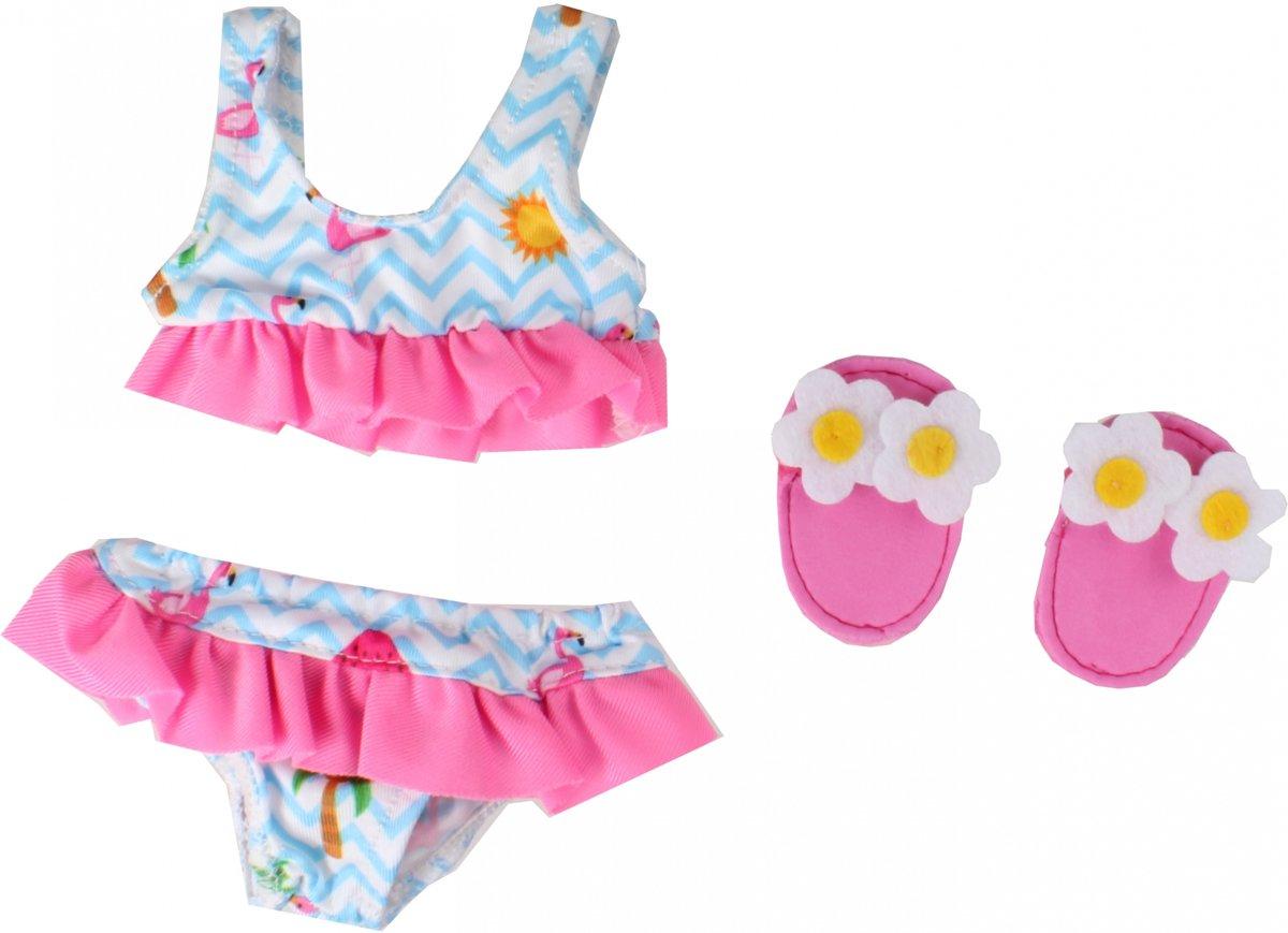 Poppen Bikini met Slippers Flamingo, 28-35 cm Afmeting verpakking: 25 x 16 x 0,5 cm, geschikt voor poppen van 28-35 cm