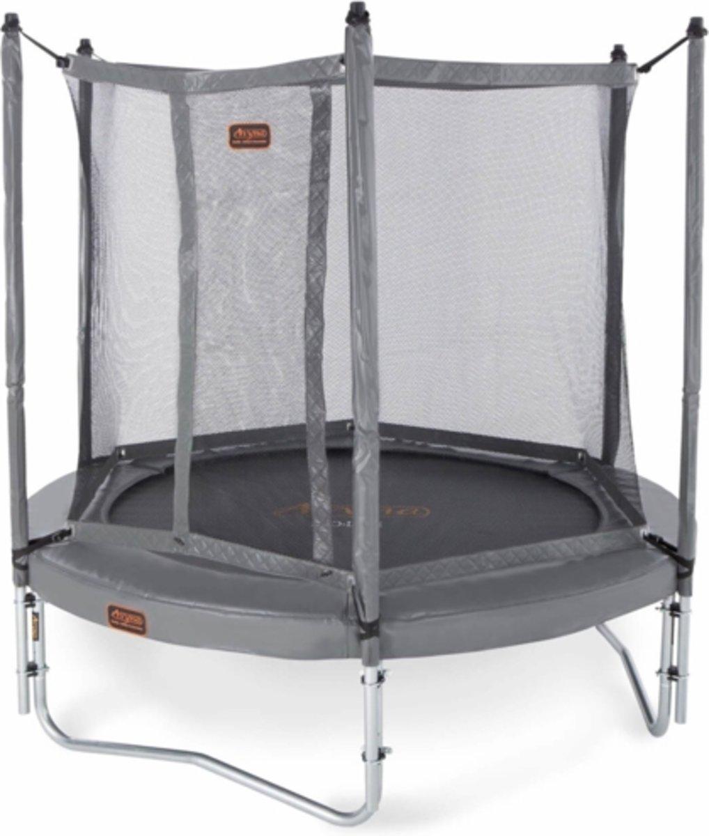 PRO-LINE 08 trampoline + net boven + ladder - grijs- Gratis Afdekhoes
