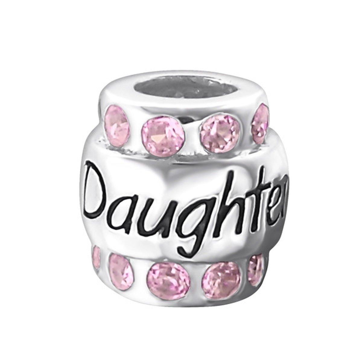 Daughter roze zirkonia bead  | Bedel | Zilverana | geschikt voor Biagi , Pandora , Trollbeads armband | 925 zilver kopen