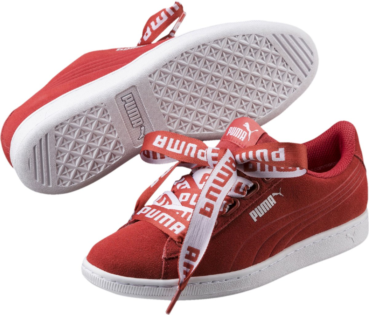 Vikky Ruban Baskets Puma - Taille 40,5 - Femmes - Rouge / Blanc