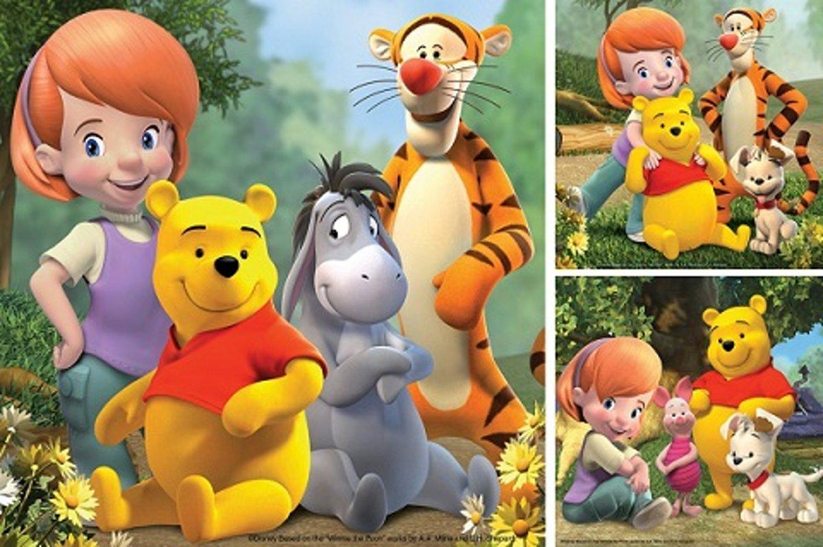 3 Puzzels van 49 stukjes Pooh in het Bos