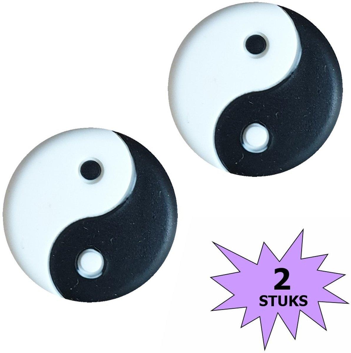 Fako Bijoux® - Tennisdemper - Yin Yang - Zwart/Wit - 2 Stuks kopen