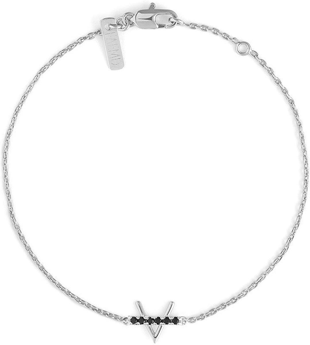 FAEMD V & Black Studs Bar Bracelet - Dames - Armband - Zilver - Minimalistisch