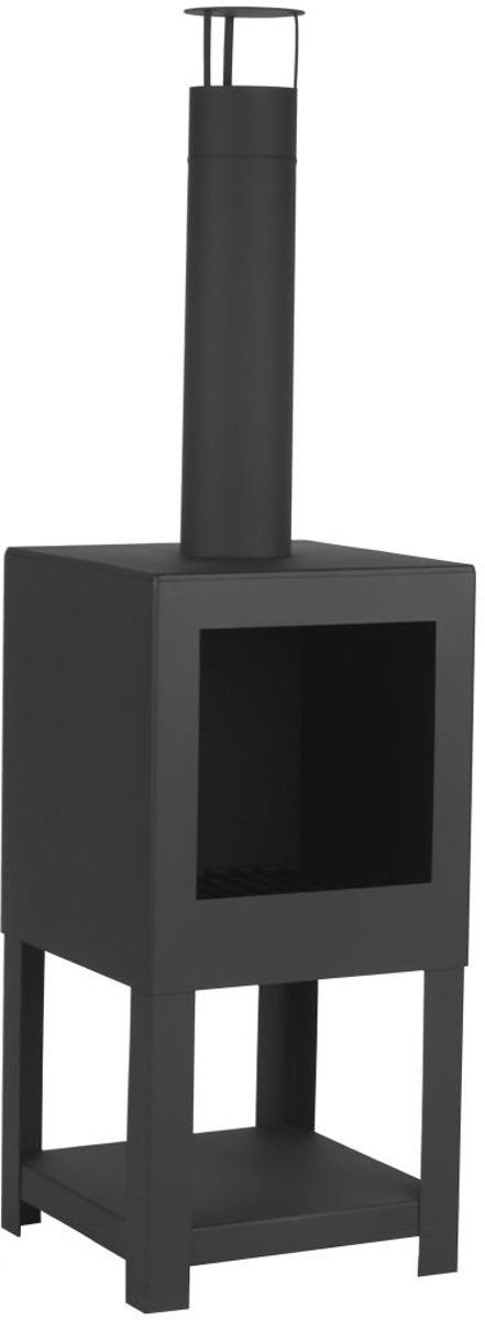 Esschert Design Tuinhaard met houtopslag zwart FF410 kopen